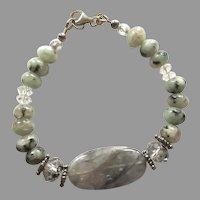 Sterling Green, Gray Jasper, Crystal Beaded Bracelet