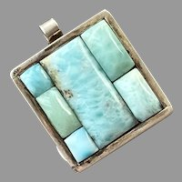 Vintage Sterling Larimar Pendant