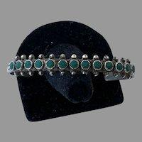 1940's Sterling Zuni Single Row Snake Eye Turquoise Cuff Bracelet