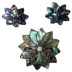 Vintage Mexican Taxco Sterling  Abalone Pin / Earrings Set