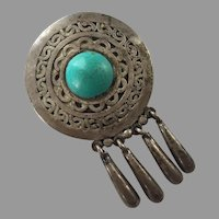 Vintage 1940's Mexican Ysidro Garcia Pina Maricela Sterling Turquoise Pin / Pendant