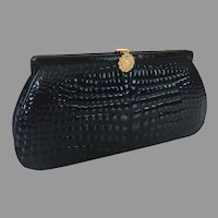 Vintage Dofan 1960's 70's Embossed Leather Clutch Purse With Fancy Clasp