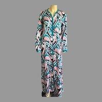 REDUCED Vintage 1970's Long Silk MuuMuu Caftan Dress Size L