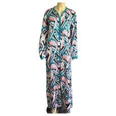 Vintage 1970's Long Silk MuuMuu Caftan Dress Size L