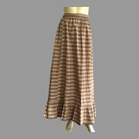 Edwardian Brown & White Plaid Long Prairie Skirt