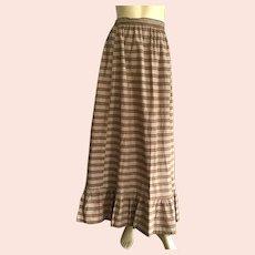 Edwardian Brown & White Plaid Long Prairie Skirt
