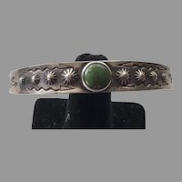 Native American Navajo Tourist Silver Turquoise Cuff Bracelet