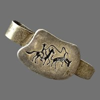 Vintage Mexican Modernist Sterling Tie Clip Horse Theme