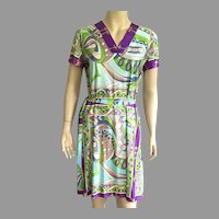 Vintage 1970's Mod Design Short Sleeve Dress