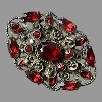Large Czech Or Austrian Ornate Red Rhinestone Pin