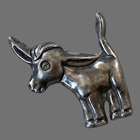 Mexican Sterling Pre-Eagle Donkey Burro Pin