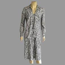 Vintage 1970's Diane Von Furstenberg Black & White Dress With Jacket