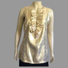 Tory Birch Gold Lame Evening Sleeveless Blouse Size 12