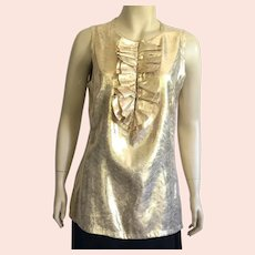 Tory Birch Gold Lame Evening Sleeveless Blouse Size 12