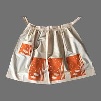Vintage Mid-Century Screen Print Half Apron Fish Motif Never Worn