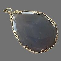 Gray Agate & Gold-Filled Teardrop Pendant
