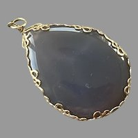 Gray Agate & Gold-Filled Teardrop Pendant