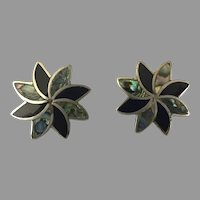 1940's Mexican Sterling Abalone and Black Onyx Screwback Earrings