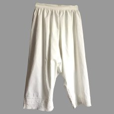 Victorian White Cotton Bloomers / Pantaloons With Eyelet Lace Trim