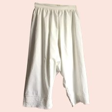 REDUCED Victorian White Cotton Bloomers / Pantaloons With Eyelet Lace Trim