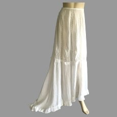 Victorian Batiste Long Skirt With Lace Inserts & Asymmetrical Hemline