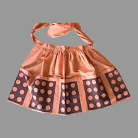 REDUCED Vintage Mid-Century Screen Print Half Apron Pumpkin Brown Polka Dots