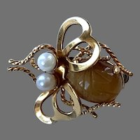 Vintage Winard Gold-Filled Bee Pin With Tiger Eye Scarab Body and Pearl Eyes