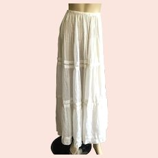 Antique White Dotted Swiss Muslin Three Tiered Skirt