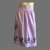 REDUCED Vintage Mid-Century Screen Print Half Apron Abstract Floral Design