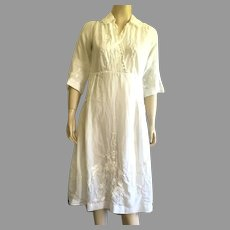 Antique Edwardian Embroidered & Lace White Lawn Dress