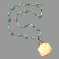 Green & Yellow Quartz Beaded Pendant Necklace