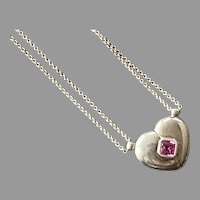 Petra Azar Sterling Magnetic Heart True Love Pendant Necklace With Pink Stone