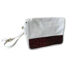 Vintage Joan & David White Leather Purse Faux Alligator Cross Body Bag