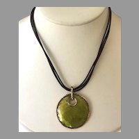 REDUCED Monet Green Dyed Mother-Of-Pearl Pendant Necklace