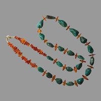 Turquoise & Amber Nugget Beaded Necklace