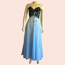 1960's Nylon Baby Blue & Black Lace Nightgown / Negligee Ballerina Style