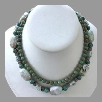 African Turquoise & Jasper Beaded Necklace With Hammered Silver Toggle Clasp