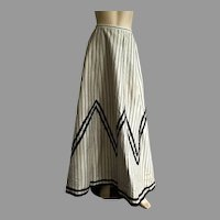 Antique Victorian Light Gray & Black Striped Skirt
