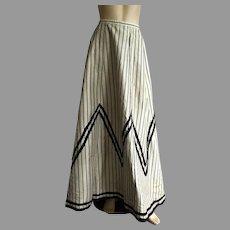 Antique Victorian Light Gray & Black Striped Skirt