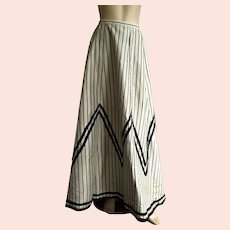 Victorian Light Gray and Black Striped Skirt As Is