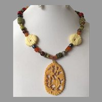 Vintage Semi-Precious Gemstone Beaded Necklace With Celluloid Pendant