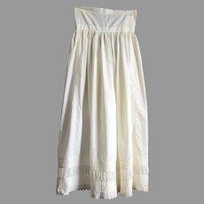 Victorian White Cotton Petticoat With Pin Tucks