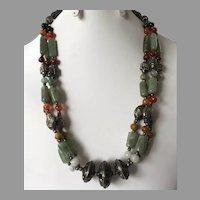 Vintage Ethnic Beaded Semi-Precious Stone & Silver Bead Necklace
