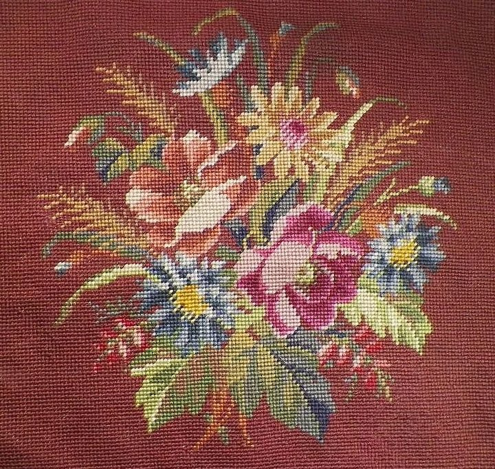 Vintage Hand Done Needlepoint Chair Seat Cover