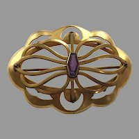 Art Nouveau Gilded Brass Brooch / Pin With Amethyst Glass Stone