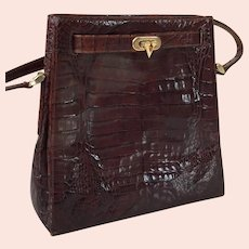 Vintage 1960's Valentino Garavani Brown Alligator Purse With Shoulder Strap
