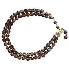 Vintage DeMario Double Strand Brown Crystal & AB Necklace