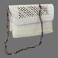 REDUCED Vintage NWT White Woven Straw Purse / Shoulder Bag