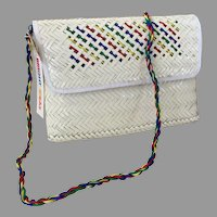 Vintage NWT White Woven Straw Purse / Shoulder Bag