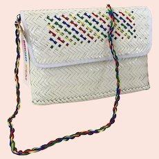 Vintage NWT White Woven Straw Purse / Shoulder Bag